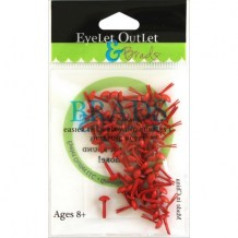 Eyelet Outlet - RED Round Brads 4 mm - kovové svorky