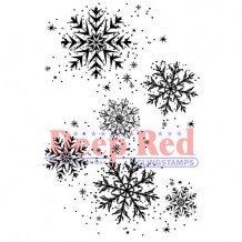 Deep Red Stamps - SNOWFLAKE BACKGROUND - cling razítko
