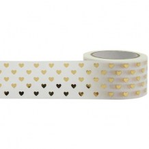 Little B - GOLD HEARTS Washi Tape - papírová páska