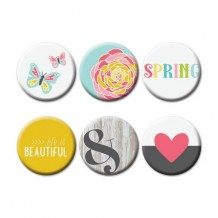 Fancy Pants - LIFE IS BEAUTIFUL Flair Buttons - kovové placky