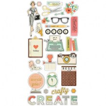 Simple Stories - THE RESET GIRL Chipboards - kartonové samolepky