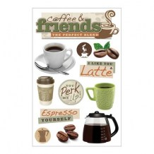 Paper House - COFFEE TALK Layered Stickers - 3D samolepky