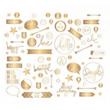 Heidi Swapp - PROJECT LIFE Gold Clear Stickers - samolepky