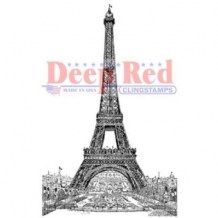 Deep Red Stamps - VINTAGE PARIS EIFFEL TOWER - cling razítko