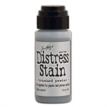 Ranger - Distress Stain Metallic BRUSHED PEWTER - scrapbook