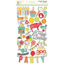 Simple Stories - LET´S PARTY Chipboards - kartonové samolepky