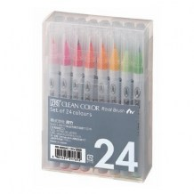 Kuretake - ZIG CLEAN COLOR REAL BRUSH (24 ks) - akvarelové fixy