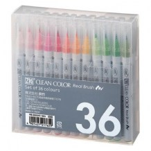 Kuretake - ZIG CLEAN COLOR REAL BRUSH (36 ks) - akvarelové fixy